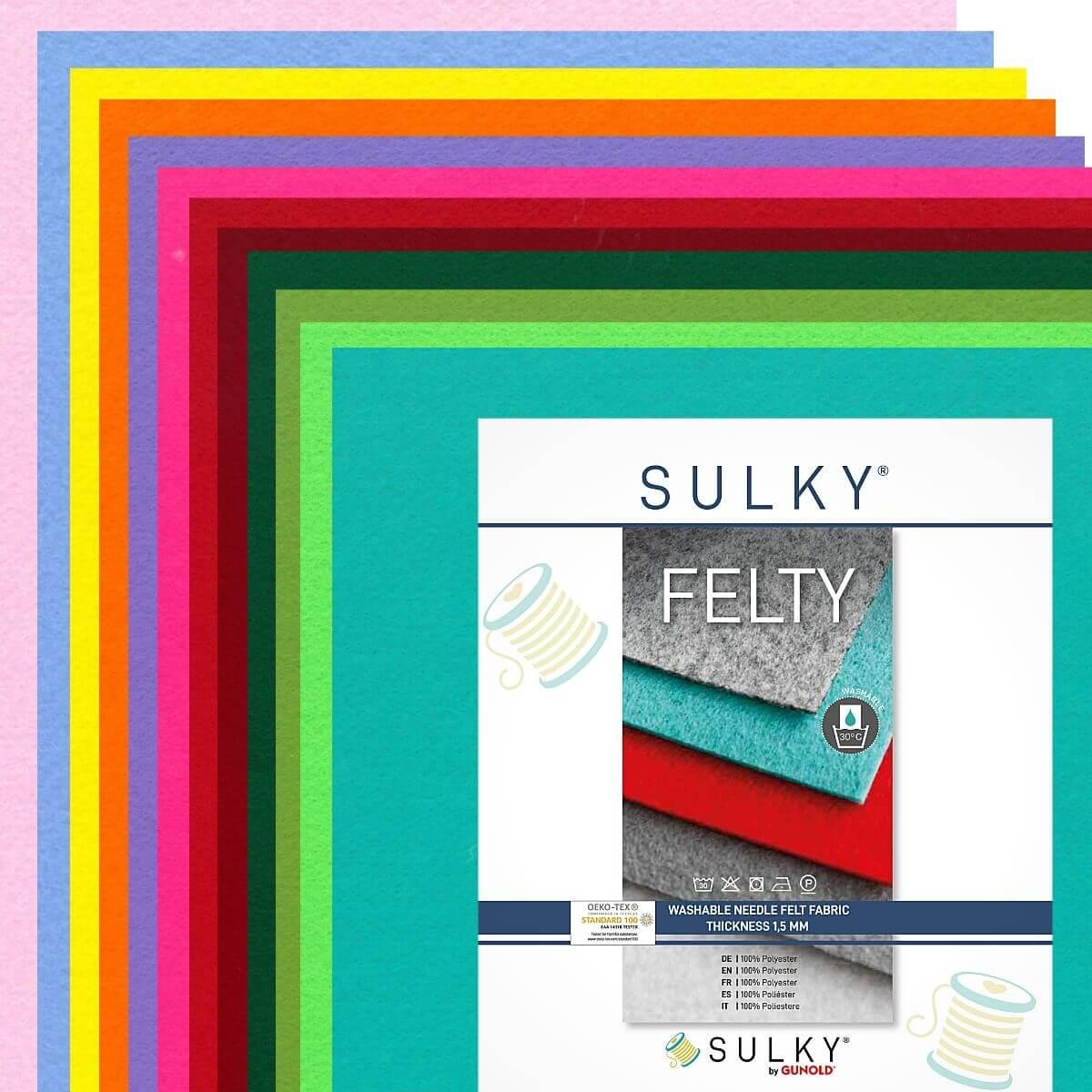 "SULKY FELTY, washable, Assortments á 12 sheets 29,5 x 21cm - ""Coloured"""
