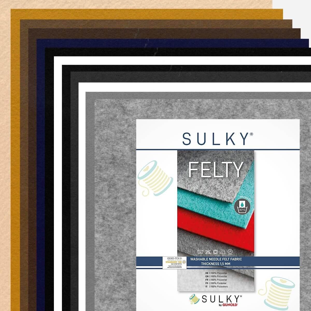 "SULKY FELTY, washable, Assortments á 12 sheets 29,5 x 21cm - ""Bright-Dark"""