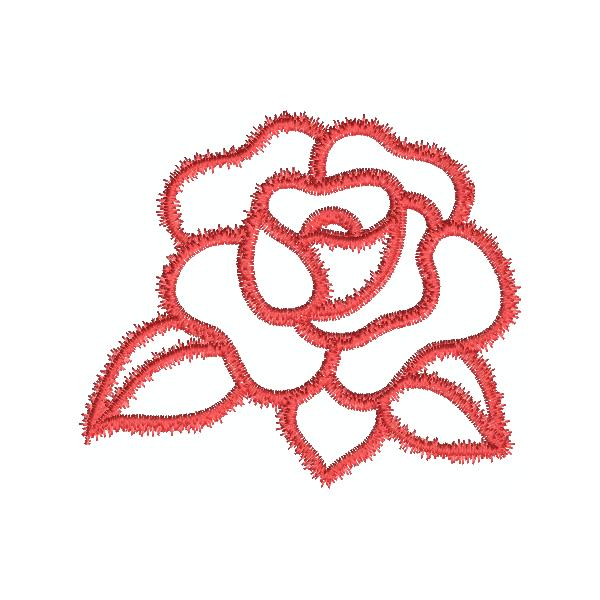 Stickdesign Applikation Rose