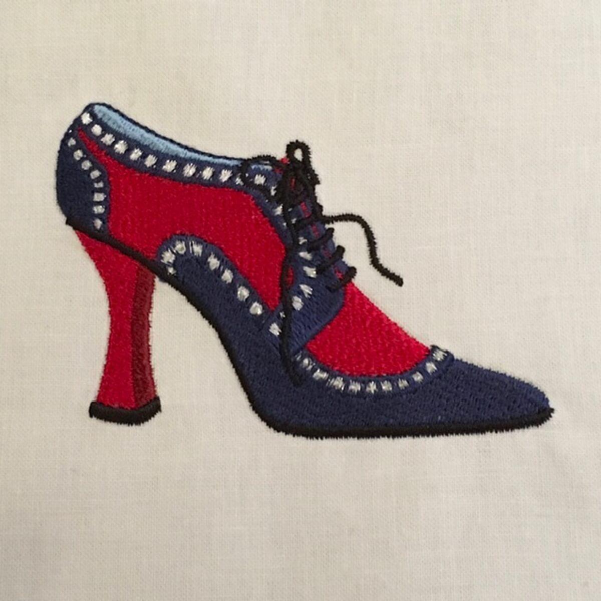 Stickdesign Blauer Denim Schuh  (Download)
