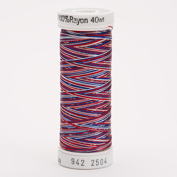 SULKY RAYON 40 ombre/multicolor, 225m Snap Spulen -  Farbe 2504 Red/White/Blue