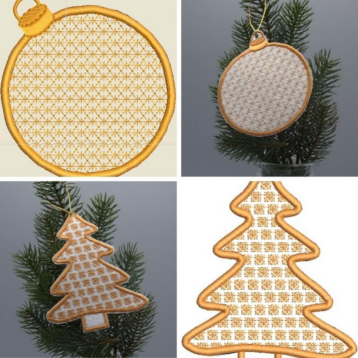 Stickdesign Anhänger Set Tannenbaum und Weihnachskugeln
