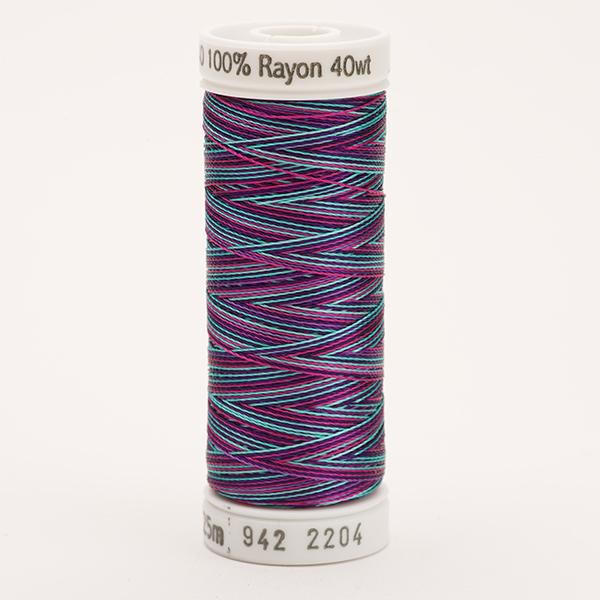 SULKY RAYON 40 ombre/multicolor, 225m Snap Spulen -  Farbe 2204 Teal/Purple/Fuchsia