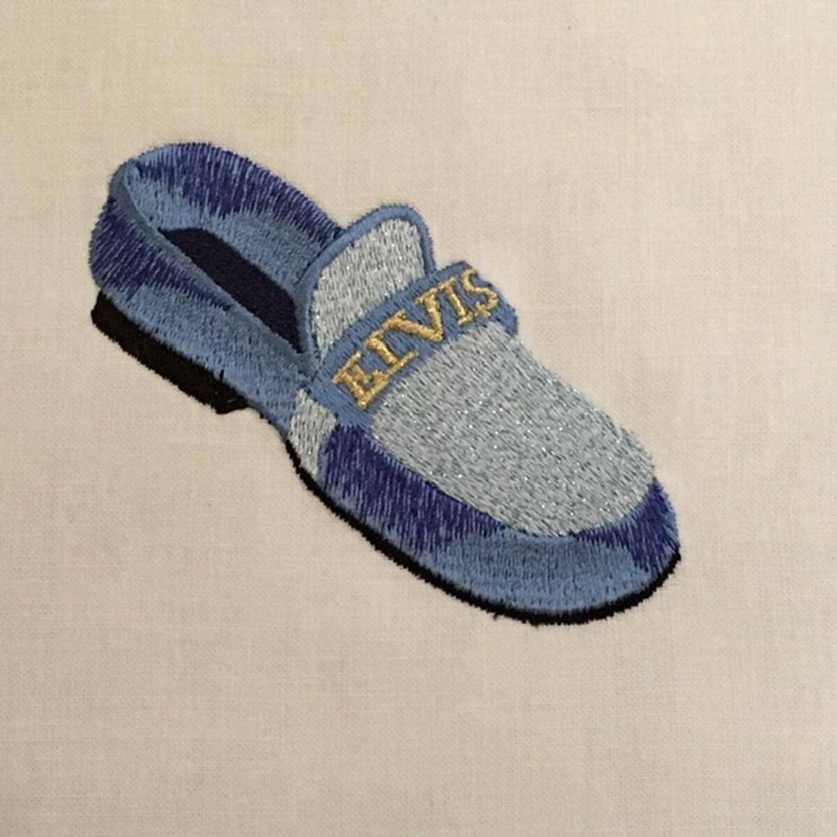 Stickdesign Blauer Veloursleder Schuh  (Download)
